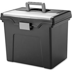 Iris Portable File Box, Letter, 11.7 in x 10.2 in x 13.8 in, Black