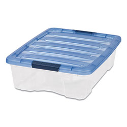 Iris Stack and Pull Latching Flat Lid Storage Box, 6.73 gal, 16.5 in x 22 in x 6.5 in, Clear/Translucent Blue