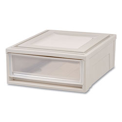 Iris Stackable Storage Drawer, 5.5 gal, 15.7 in x 19.7 in x 6.5 in, Gray/Translucent Frost