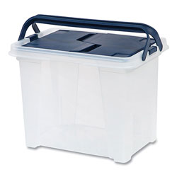Iris Plastic File Box, Letter Files, 10.2 x 14.6 x 11, Clear/Navy