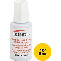 Integra Correction Fluid, Multipurpose, 22ml, 10/BX, White