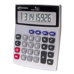 Innovera 15927 Desktop Calculator, Dual Power, 8-Digit LCD Display