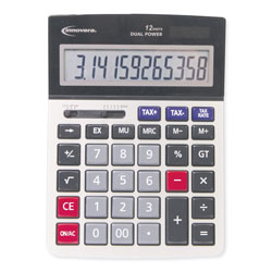 Innovera 15975 Large Display Calculator, Dual Power, 12-Digit LCD Display