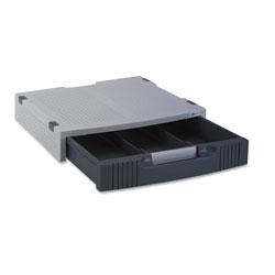 Innovera Single-Level Monitor Stand w/Storage Drawer, 15 x 11 x 3, Light Gray/Charcoal