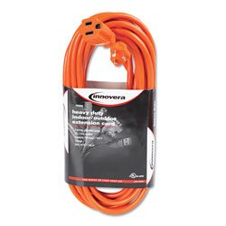 Innovera Indoor/Outdoor Extension Cord, 25ft, Orange