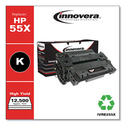 Innovera Remanufactured Black High-Yield Toner Cartridge, Replacement for HP 55X (CE255X), 12,500 Page-Yield