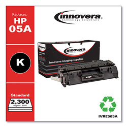 Innovera Remanufactured Black Toner Cartridge, Replacement for HP 05A (CE505A), 2,300 Page-Yield