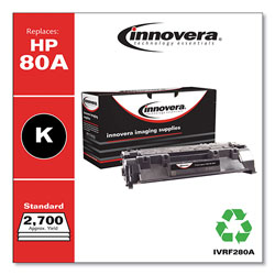 Innovera Remanufactured Black Toner Cartridge, Replacement for HP 80A (CF280A), 2,700 Page-Yield