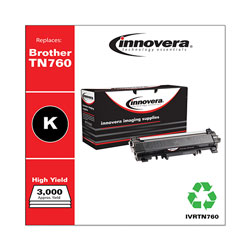 Innovera Remanufactured Black High-Yield Toner Cartridge, Replacement for Brother TN760, 3,000 Page-Yield