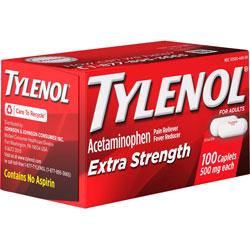 Johnson & Johnson Tylenol Extra Strength Caplets, 500mg, 100/BX