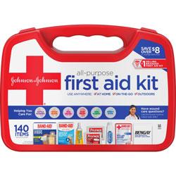 Johnson & Johnson First Aid Kit, 140-Piece, 9-4/5 inW x 3-3/10 inL x 7-1/100 inH