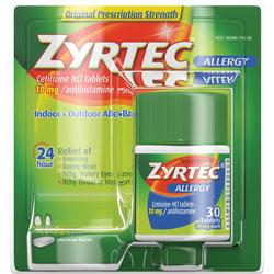 Johnson & Johnson Zyrtec Allergy Tablets, 10mg, 30/BX