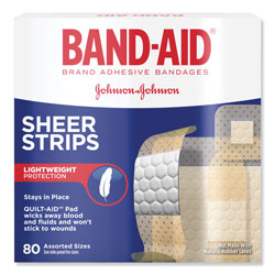 Band Aid Tru-Stay Sheer Strips Adhesive Bandages, Assorted, 80/Box