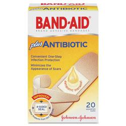 Band Aid Antibiotic Adhesive Bandages, Assorted Sizes, 20/Box