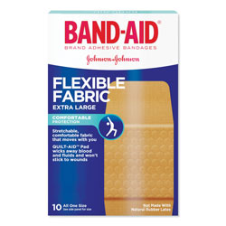 Band Aid Flexible Fabric Extra Large Adhesive Bandages, 1.25 in x 4 in, 10/Box