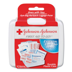 Johnson & Johnson Mini First Aid To Go Kit, 12-Pieces, Plastic Case