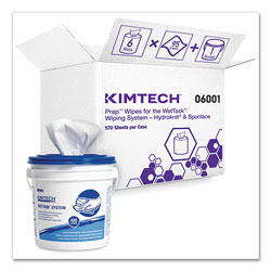 Kimtech* Wipers for WETTASK System, Bleach, Disinfectants and Sanitizers, 6 x 12, 570/Roll, 6 Rolls and 1 Bucket/Carton