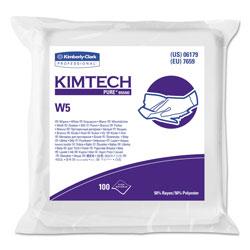 Kimtech* W5 Critical Task Wipers, Flat Double Bag, Spunlace, 9x9, White, 100/Pk, 5/Carton