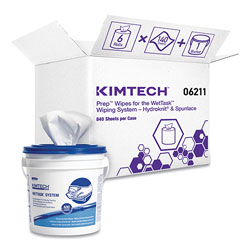 Kimtech* Wipers for WETTASK System, Bleach, Disinfectants and Sanitizers, 6 x 12, 840/Roll, 6 Rolls and 1 Bucket/Carton