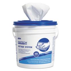 Kimtech* WetTask System-Bleach/Disinfectant/Sanitizer w/Bucket,12X12.5, 90/Roll, 6Roll/CT