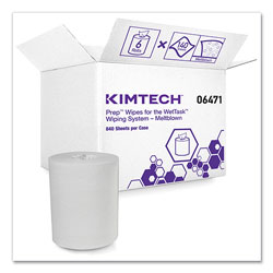 Kimtech* Wipers for the WETTASK System, Quat Disinfectants and Sanitizers, 6 x 12, 840/Roll, 6 Rolls and 1 Bucket/Carton