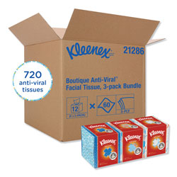 Kleenex Boutique Anti-Viral Facial Tissue, 3-Ply, White, Pop-Up Box, 60 Sheets/Box, 3 Boxes/Pack, 4 Packs/Carton