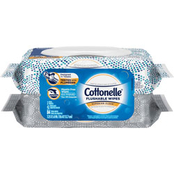 Cottonelle® Flushable Wipes, 3-1/2 inWx3-1/10 inLx5-1/2 inH, 84/PK