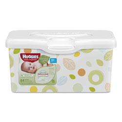 Huggies® Natural Care Baby Wipes, Unscented, White, 64/Tub, 4 Tub/Carton