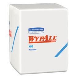 WypAll* X60 Cloths, 1/4 Fold, 12 1/2 x 10, White, 70/Pack, 8 Packs/Carton