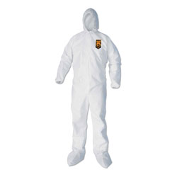 KleenGuard* A40 Elastic-Cuff, Ankle, Hood and Boot Coveralls, X-Large, White, 25/Carton