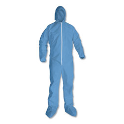 KleenGuard* A65 Hood & Boot Flame-Resistant Coveralls, Blue, 2X-Large, 25/Carton