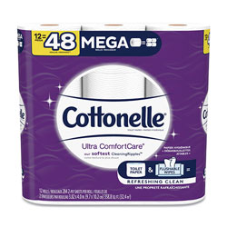 Cottonelle® Ultra CleanCare Toilet Paper, Strong Tissue, Mega Rolls, Septic Safe, 2 Ply, White, 284 Sheets/Roll, 12 Rolls