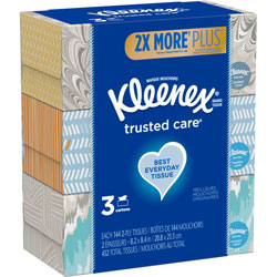 Kleenex Trusted Care Facial Tissue, 2-Ply, White, 144 Sheets/Box, 3 Boxes/Pack, 12 Packs/Carton