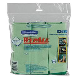 WypAll* Microfiber Cloths, Reusable, 15 3/4 x 15 3/4, Green, 24/Carton