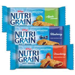 Kellogg's Nutri-Grain Soft Baked Breakfast Bars, Asstd: Apple, Blueberry, Strawberry, 1.3 oz Bar, 48/Carton