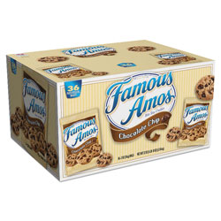 Keebler Famous Amos Cookies, Chocolate Chip, 2 oz Snack Pack, 36/Carton