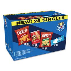 Kellogg's MVP Singles Variety Pack, Cheez-it Original/White Cheddar; Pringles Original; Rice Krispies Treats, 28.1 oz, 28/Box