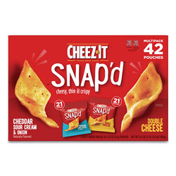 Keebler Snap'd Crackers Variety Pack, Cheddar Sour Cream and Onion; Double Cheese, 0.75 oz Bag, 42/Carton