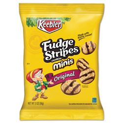 Keebler Mini Cookies, Fudge Stripes, 2 oz Snack Pack, 8/Box