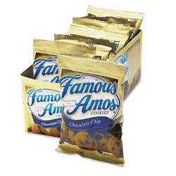 Famous Amos® Famous Amos Cookies, Chocolate Chip, 2 oz Snack Pack, 8/Box