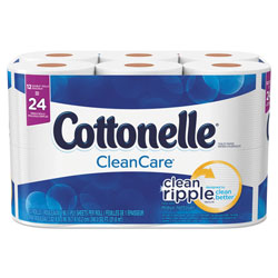 Cottonelle® Clean Care Bathroom Tissue, Septic Safe, 1-Ply, White, 170 Sheets/Roll, 12 Rolls/Pack