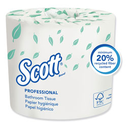 Scott® Essential Standard Roll Bathroom Tissue, Traditional, Septic Safe, 2 Ply, White, 550 Sheets/Roll, 20 Rolls/Carton