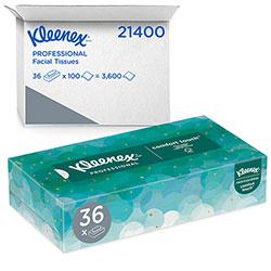 Kleenex White Facial Tissue, 2-Ply, Pop-Up Box, 100/Box, 36 Boxes/Carton