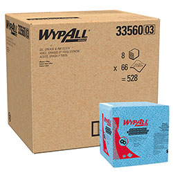 WypAll* Oil, Grease and Ink Cloths, 1/4 Fold, 12 1/2 x 12, Blue, 66/Box, 8 Boxes/Carton