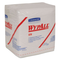WypAll* X70 Cloths, 1/4 Fold, 12 1/2 x 12, White, 76/Pack, 12 Packs/Carton