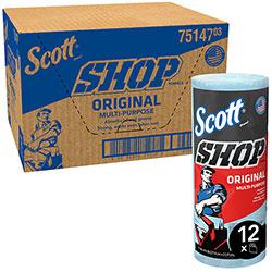 Scott® Shop Towels, Standard Roll, 10.4 x 11, Blue, 55/Roll, 12 Rolls/Carton