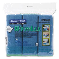 WypAll* Microfiber Cloths, Reusable, 15 3/4 x 15 3/4, Blue, 6/Pack