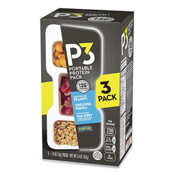 P3 Portable Protein Pack with Planters Peanuts, Honey Roasted Peanuts/Maple Ham Jerky/Sunflower Kernels, 3/Pack
