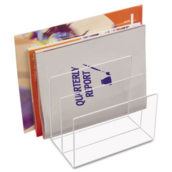 Kantek Clear Acrylic Desk File, 3 Sections, Letter to Legal Size Files, 8 in x 6.5 in x 7.5 in, Clear