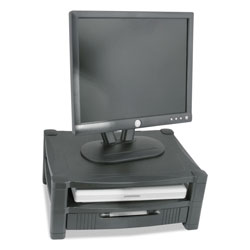 Kantek Two Level Stand, Removable Drawer, 17 x 13 1/4 x 3-1/2 to 7, Black